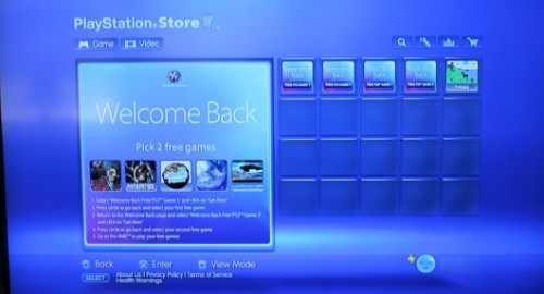 PlayStation Store Welcome Back Image