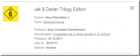 German USK Jak and Daxter Trilogy Rating Image