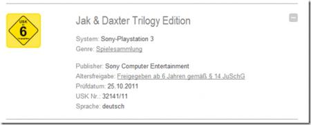 German USK Jak and Daxter Trilogy Rating Image
