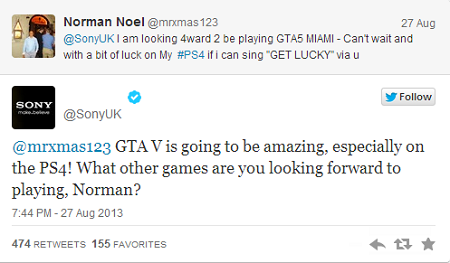 Sony GTA 5 tweet image