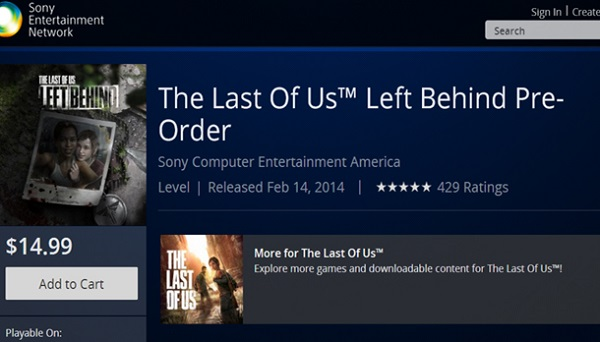The Last Of Us Left Behind PSN listing image