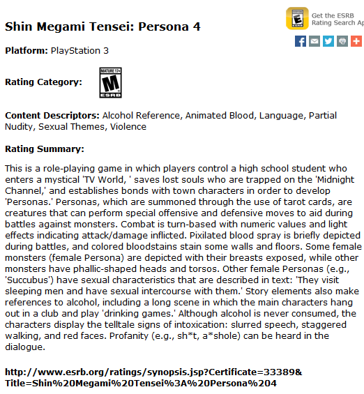 Persona 4 ESRB rating image